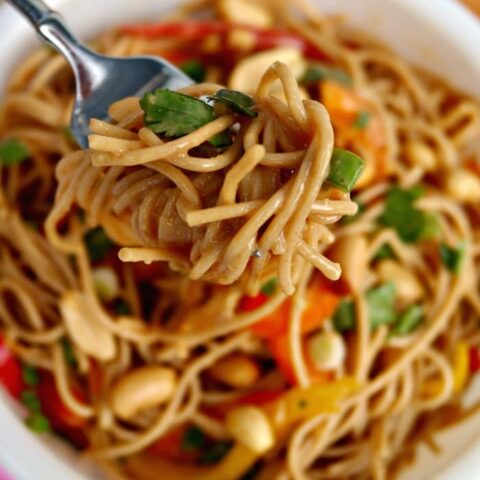 Pasta with Peanut Sauce in a white bowl