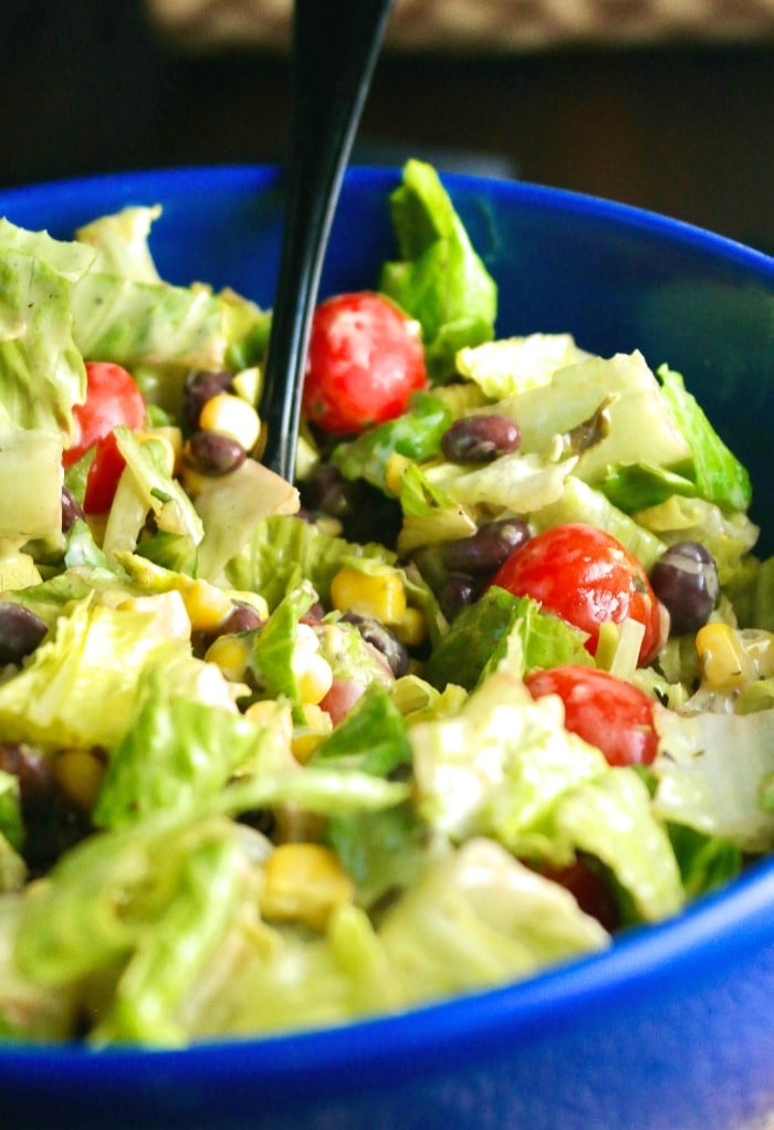 Black beans and corn salad mixed in a salad bowl ready to be eated