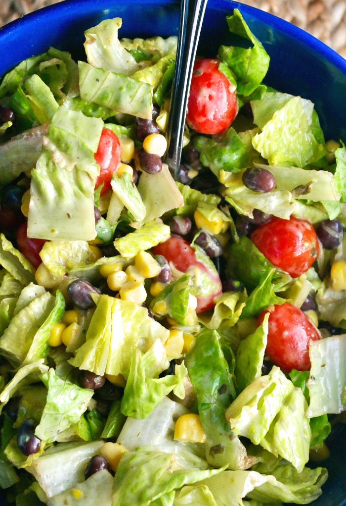 Black bean and corn salad prepared and ready to be served.