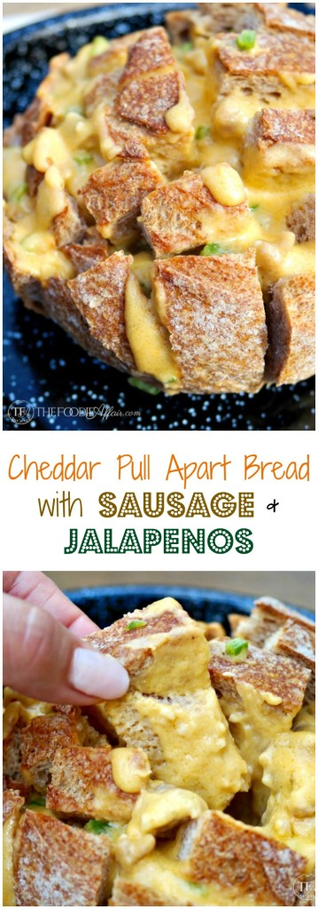 Cheesy Cheddar Pull Apart Bread with sausage and jalapeños is the ultimate party appetizer!