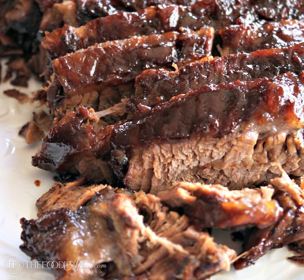 Slices of oven cooked barbecue brisket
