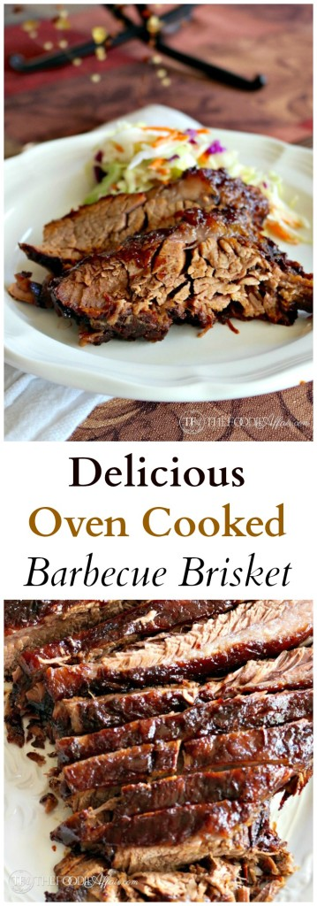 Delicious Oven Cooked Barbecue Brisket marinated overnight in liquid smoke and then slow cooked to perfection #Brisket #Barbecue #Beef | www.thefoodieaffair.com