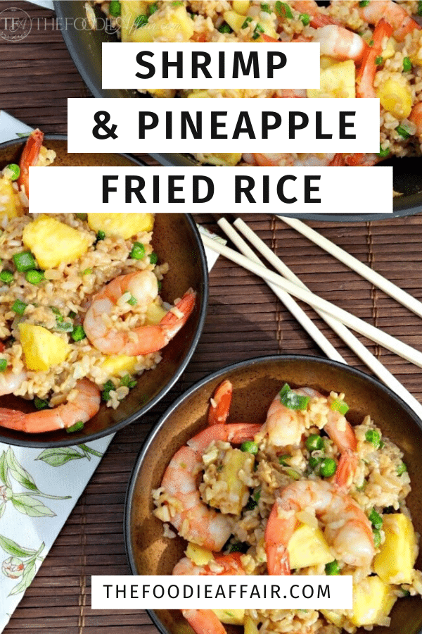 Simple fried rice recipe using leftover rice with pineapple and shrimp for a tropical flair.  Enjoy as a side dish or complete meal #friedrice #seafood #shrimp #asian #tropical