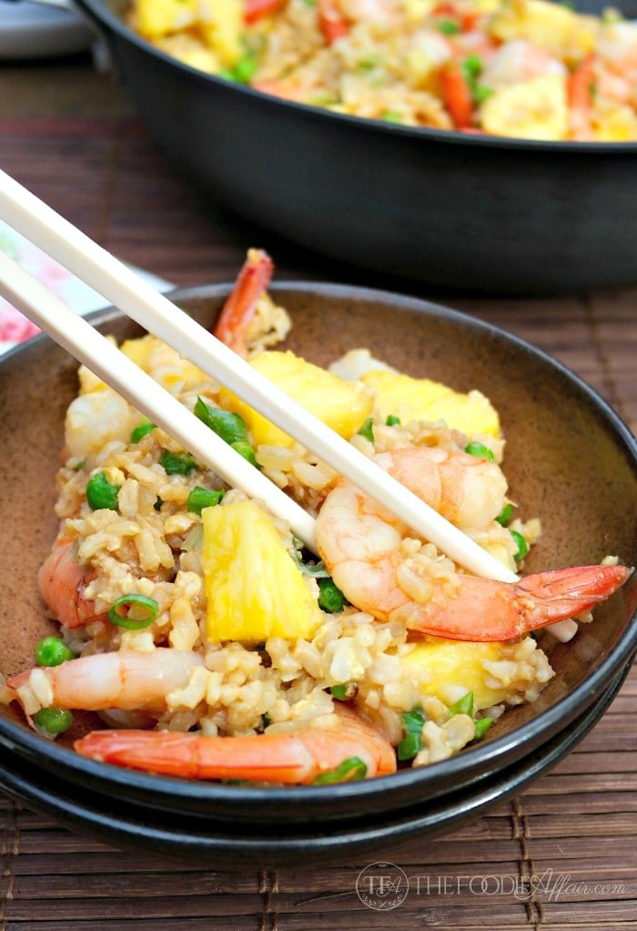 Quick and Easy Shrimp and Pineapple Fried Rice made - The Foodie Affair