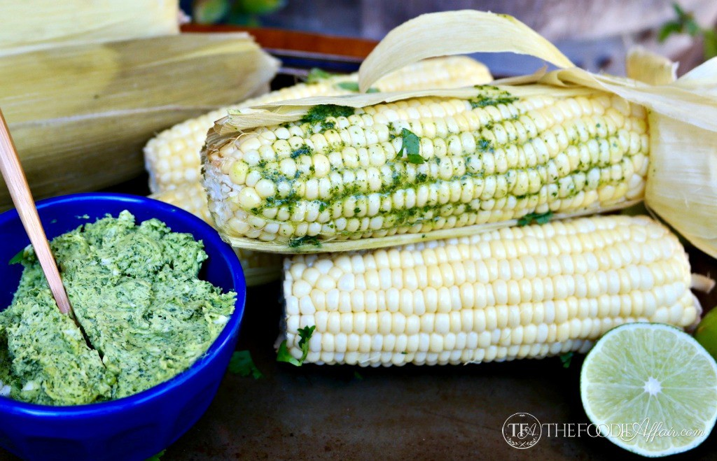 Slow Cooker Corn on the Cob with Cilantro Lime Butter
