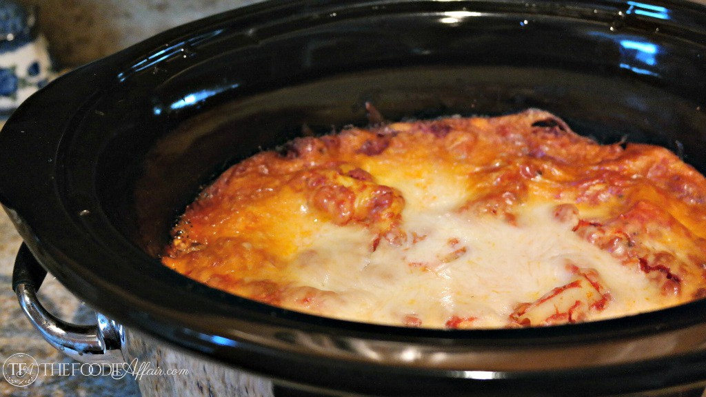 Easy Slow Cooker Lasagna with no bake noodles - The Foodie Affair