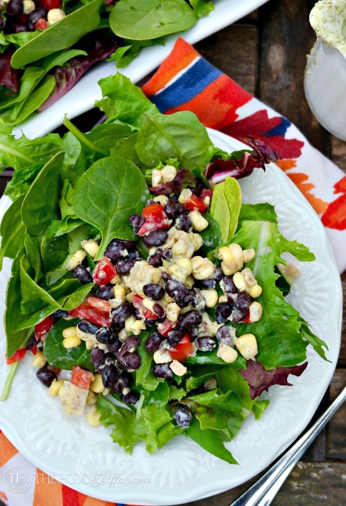 Black Bean and Corn Salad on top of greens