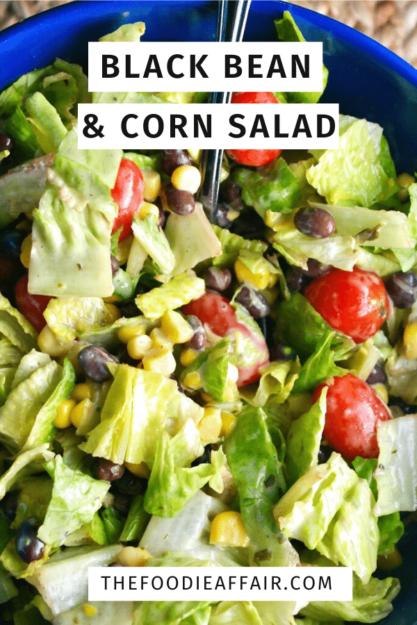 Folded in this healthy black bean and corn salad is a creamy dressing made with yogurt, lime, jalapeño and cilantro. Serve as a main dish, a side with grilled chicken or scoop it up with tortilla chips! #salad #southwestern #blackbeans #summersalad #recipe