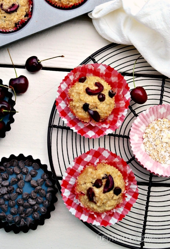 Low Fat Cherry Chocolate Oatmeal Cups - The Foodie Affair