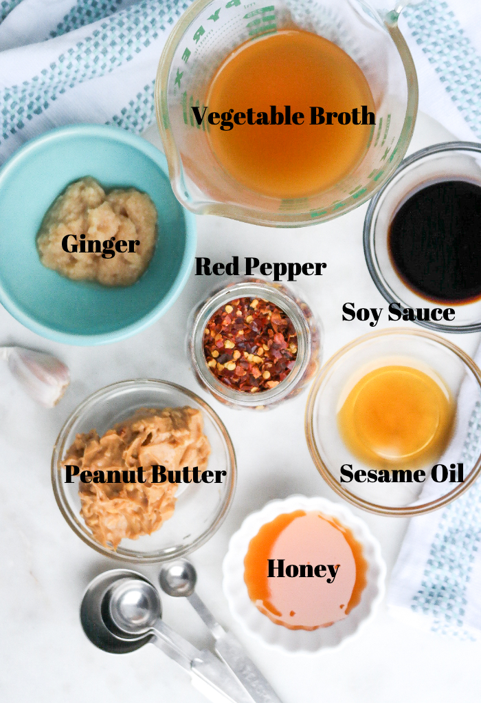 Ingredients for Thai peanut sauce.