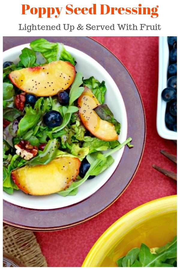 Poppy seed dressing lightened up! Serve this delicious salad dressing with fruit. #dressing #poppyseed #light #easyrecipe | www.thefoodieaffair.com