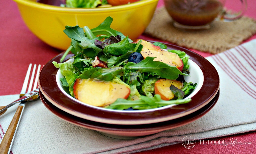 Light Poppy Seed Dressing with green salad and fruit