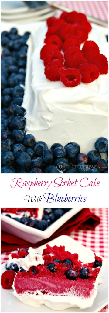 Raspberry Sorbet Cake with Fresh Blueberries - The Foodie Affair