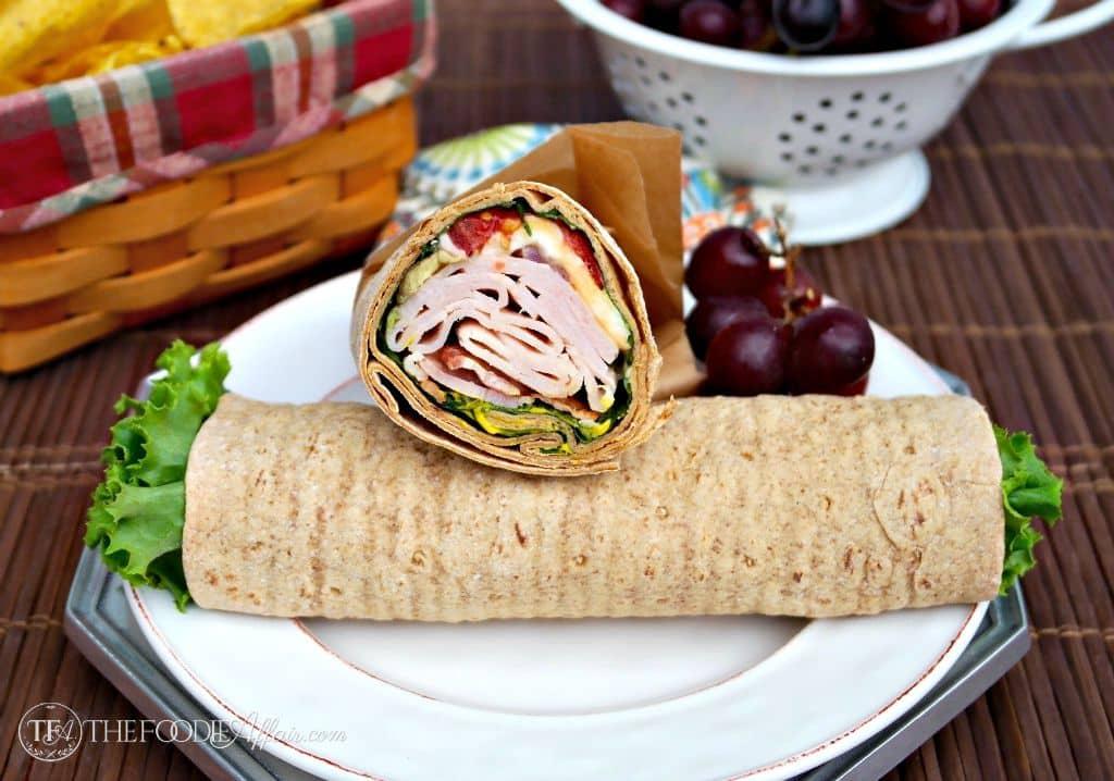 Turkey wrap sandwich with honey mustard sauce - The Foodie Affair