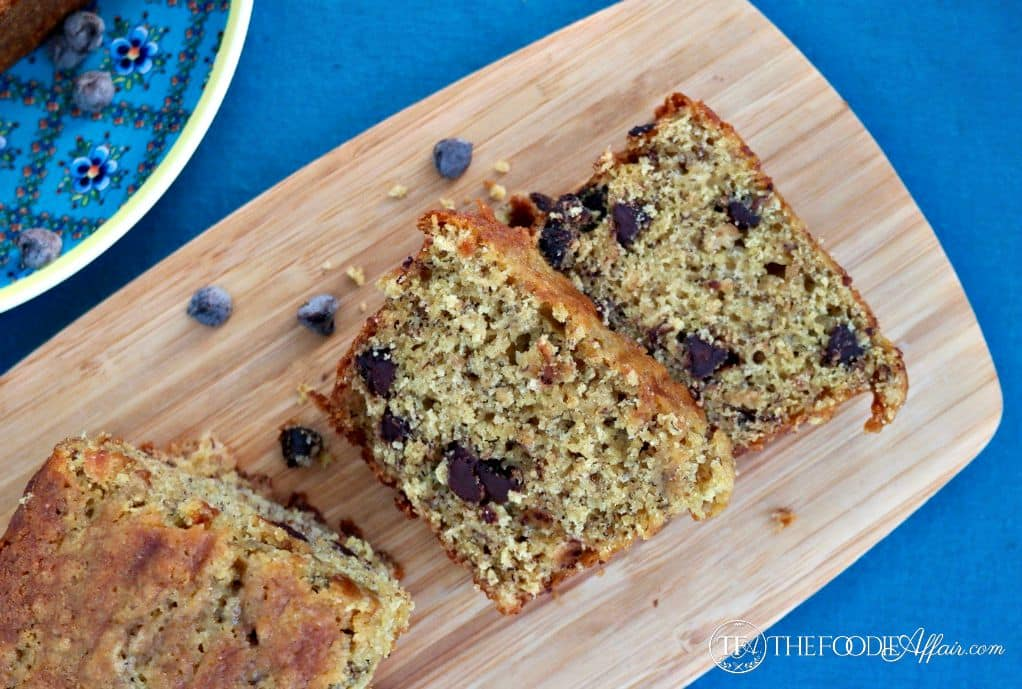 Easy Banana Bread with Chocolate Chips make a tasty snack. Make one loaf or 3 mini loaves! The Foodie Affair