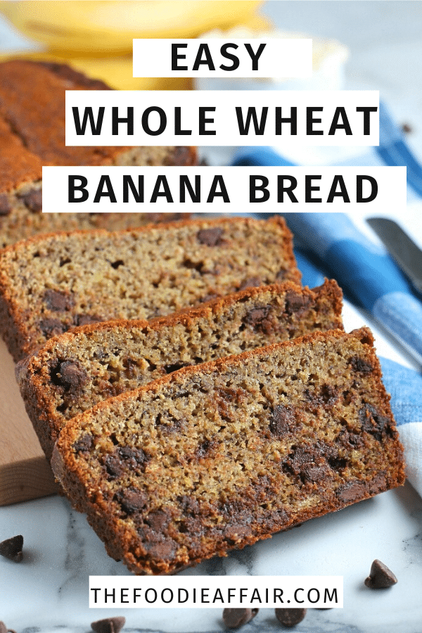 Banana bread with chocolate chips! This easy quick bread is made with whole wheat flour and comes together quickly. The hardest part is being patient while it bakes! #quickbread #banana