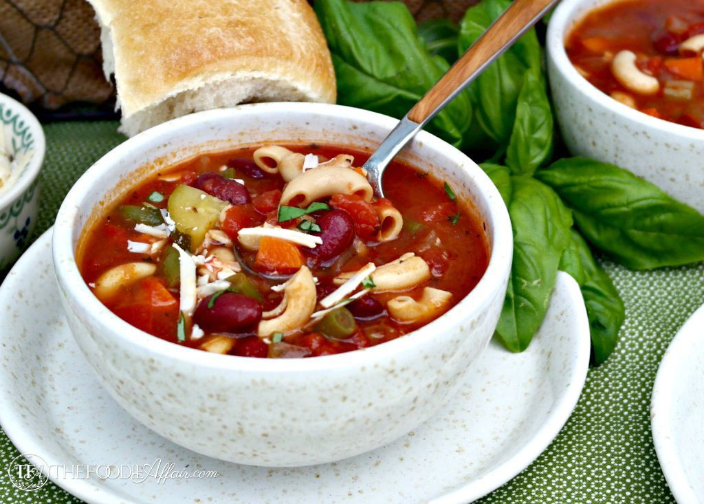 This healthy and delicious Minestrone Soup is pure comfort food! Made with a variety of vegetables and a unique pasta make from chickpeas. Try this high protein, gluten-free dish! The Foodie Affair