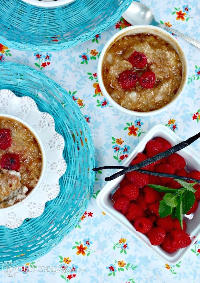 Oatmeal brulee with fresh raspberries
