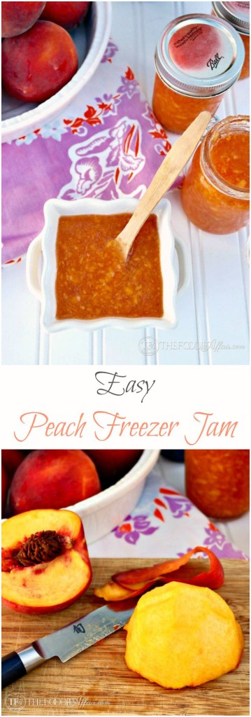 No fancy canning equipment is needed to make this easy Peach Freezer Jam. Enjoy fresh summer fruits all year long. Add to yogurt, ice cream or on a piece of toast! - The Foodie Affair