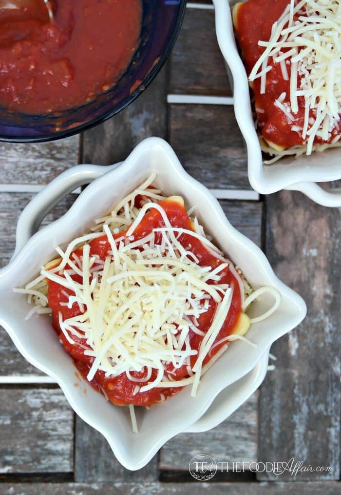 Easy Ravioli Lasagnas served in individual ramekins. The Foodie Affair