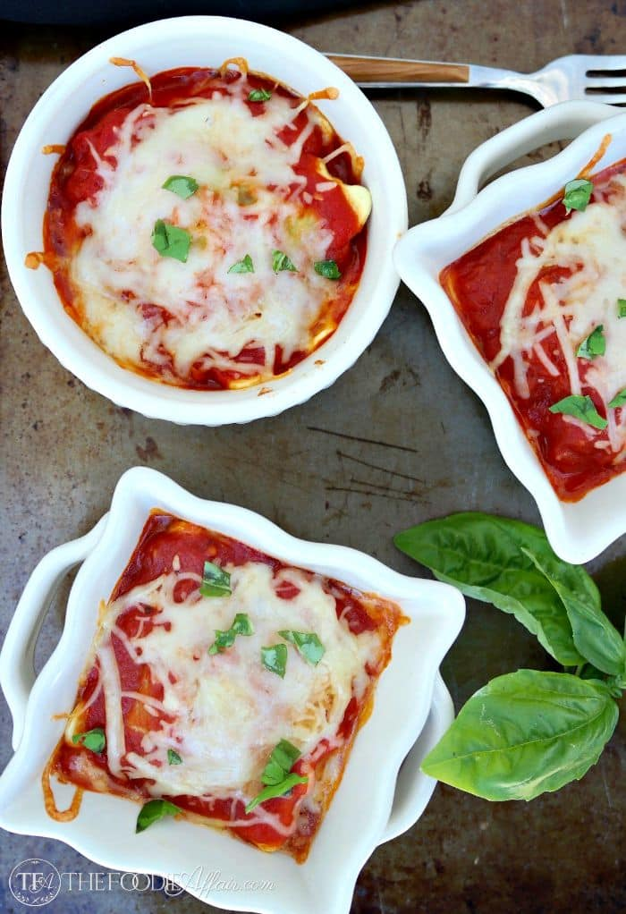 Ravioli Lasagna in individual white ramekins
