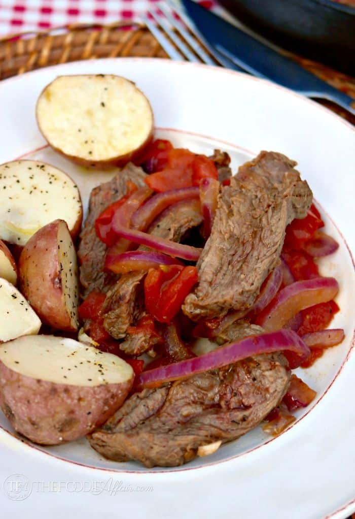 Tasty Beef Saltado with Roasted Potatoes is an easy Peruvian stir-fry dish made with lean beef and fresh vegetables. The Foodie Affair