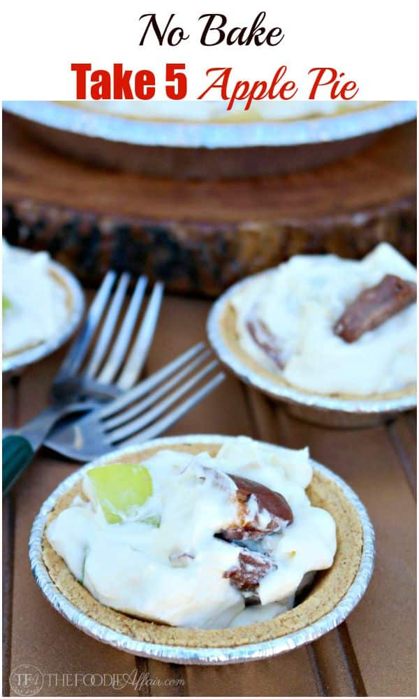 No Bake Take 5 Apple Pie is a delicious combination of chopped candy bars and apples folded into pudding and whipped cream! The Foodie Affair