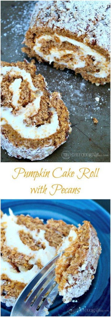 Easy Pumpkin Cake Roll with pecans and a cream cheese filling. This will be a hit at your next gathering! The Foodie Affair