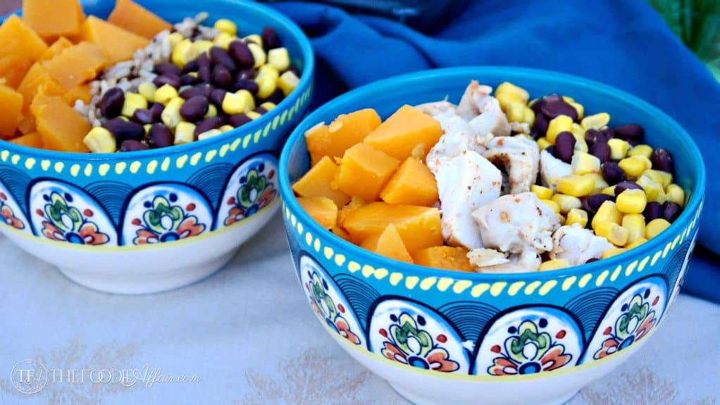 Quinoa Burrito Bowl layered with roasted butternut squash, black beans ...