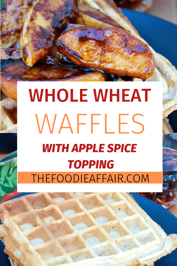 Apple Spice Waffles made with whole wheat flour and fresh grated apples topped with pan fried caramelized apples. This makes a delicious breakfast, brunch or dessert! #waffles #wheat #apples #fall #brunchidea #healthyrecipe #thefoodieaffair