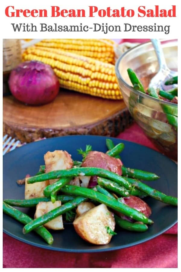 Serve this green bean potato salad cold or at room temperature. The balsamic-dijon dressing gets better the longer it melds together. Great for a cookout! #greenbean #salad #potatosalad #sidedish #BBQ #recipe   www.thefoodieaffair.com