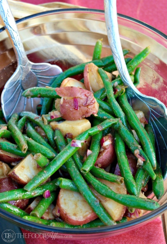 Serve this Green Bean and Potato Salad cold or at room temperature. The balsamic-dijon dressing adds a tasty layer of flavor that gets better the longer it melds together! The Foodie Affair