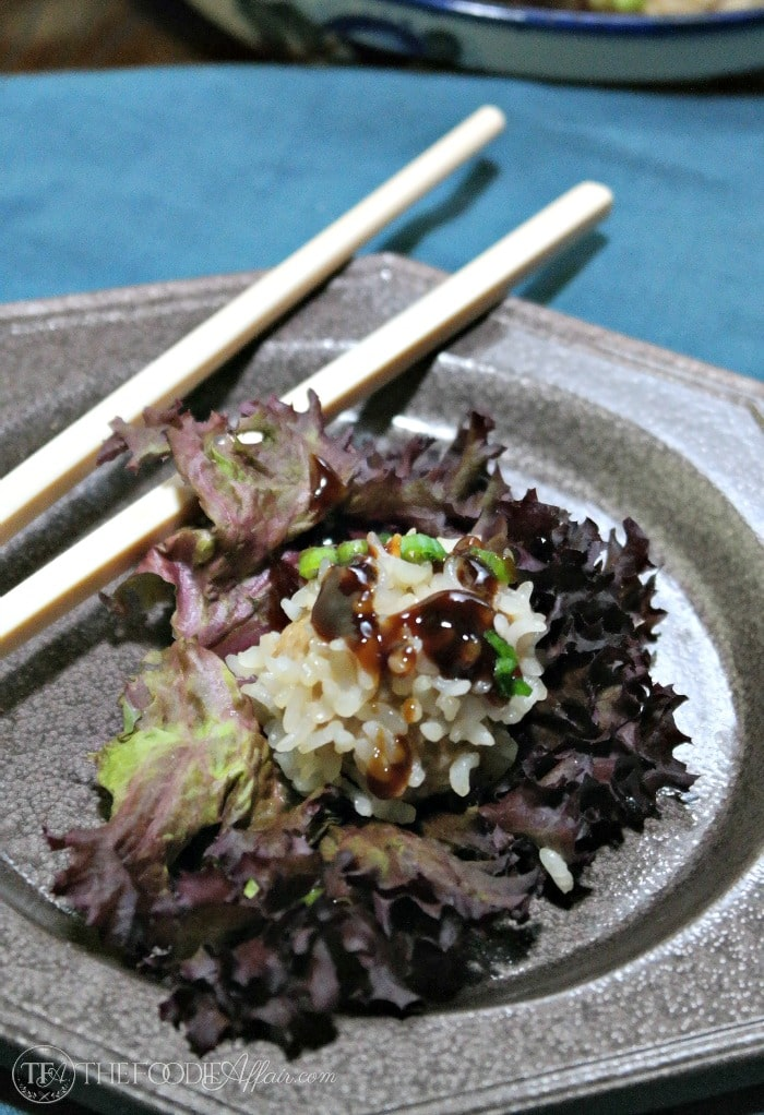 pork rice ball on a lettuce leaf