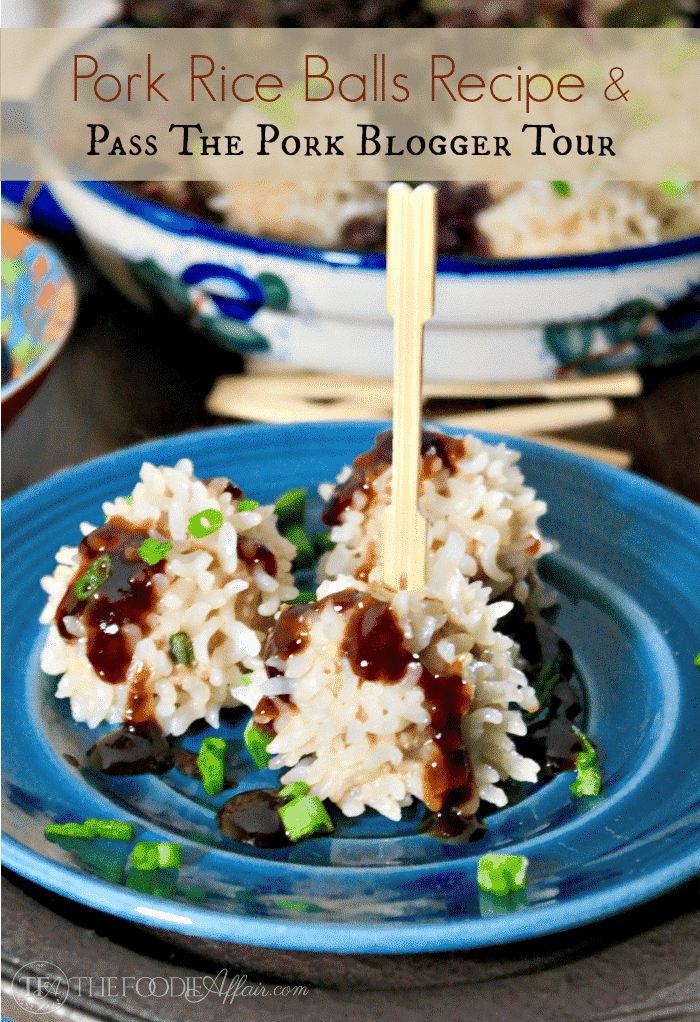 Pork Rice Balls Recipe on a blue plate topped with hoisin sauce.