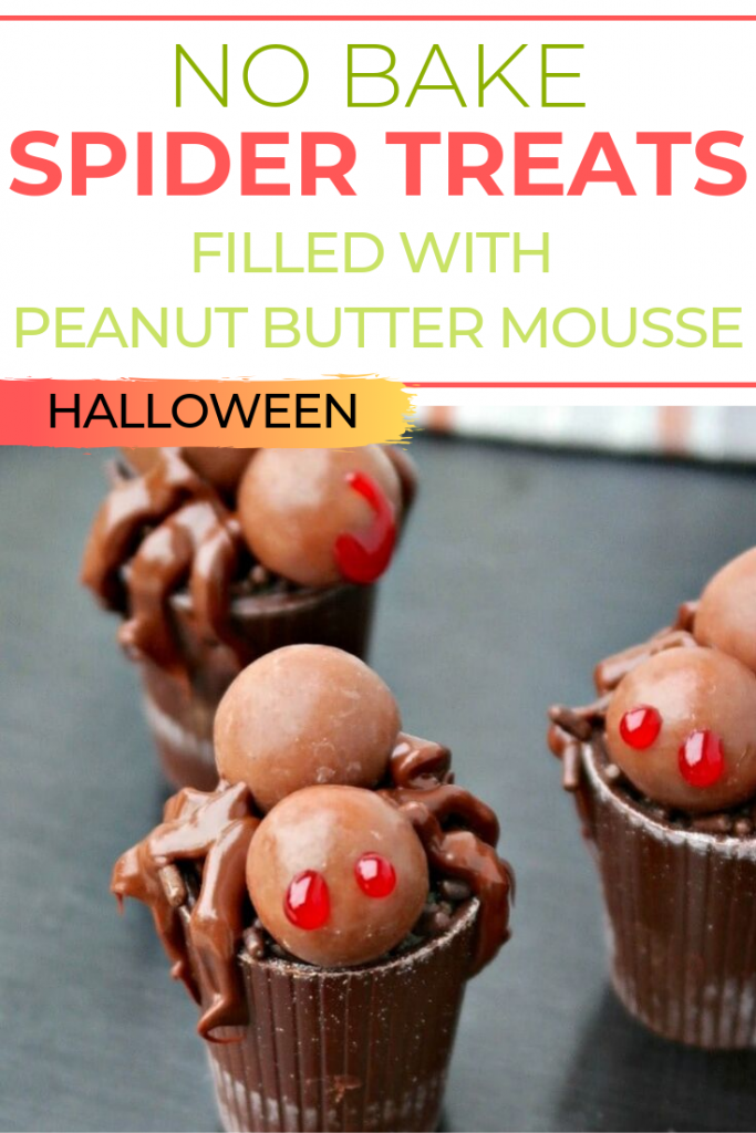 Easy Halloween Spider Treats made from chocolate cups filled with peanut butter mouse and decorated with candy that are shaped like a spider! A fun and tasty way to spruce up a dessert party table! #Halloween #chocolate #treat #dessert #spider #mousse #thefoodieaffair