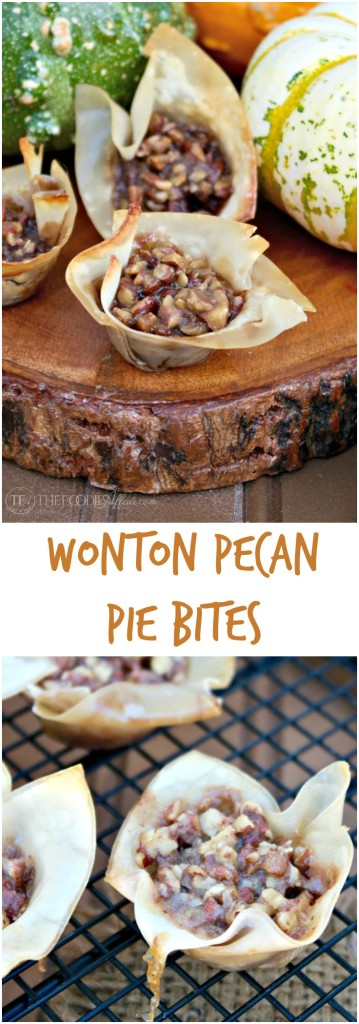 These mini Wonton Pecan Pie Bites give you the same satisfaction of a full size piece of pecan pie without all the extra calories! Bring these to your holiday gathering! The Foodie Affair