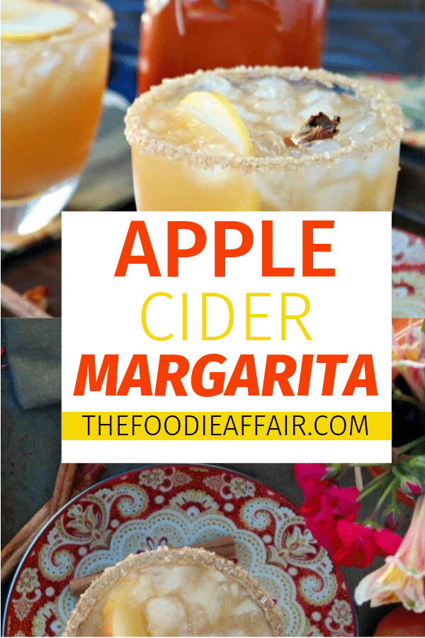 Cozy up with an Apple Cider Margarita this Fall! This cocktail is a delicious mix of tequila, orange liquor, and apple cider. A perfect addition for your Thanksgiving gathering. #margarita #cocktail #beverage #thanksgiving #holiday #cheers #partyidea #thefoodieaffair