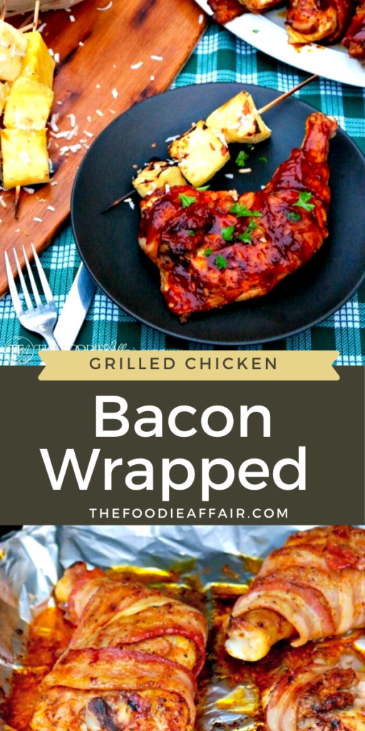 Grilled bacon wrapped chicken full of flavor using a rub and bbq sauce and grilling using the indirect method. #grill #keto