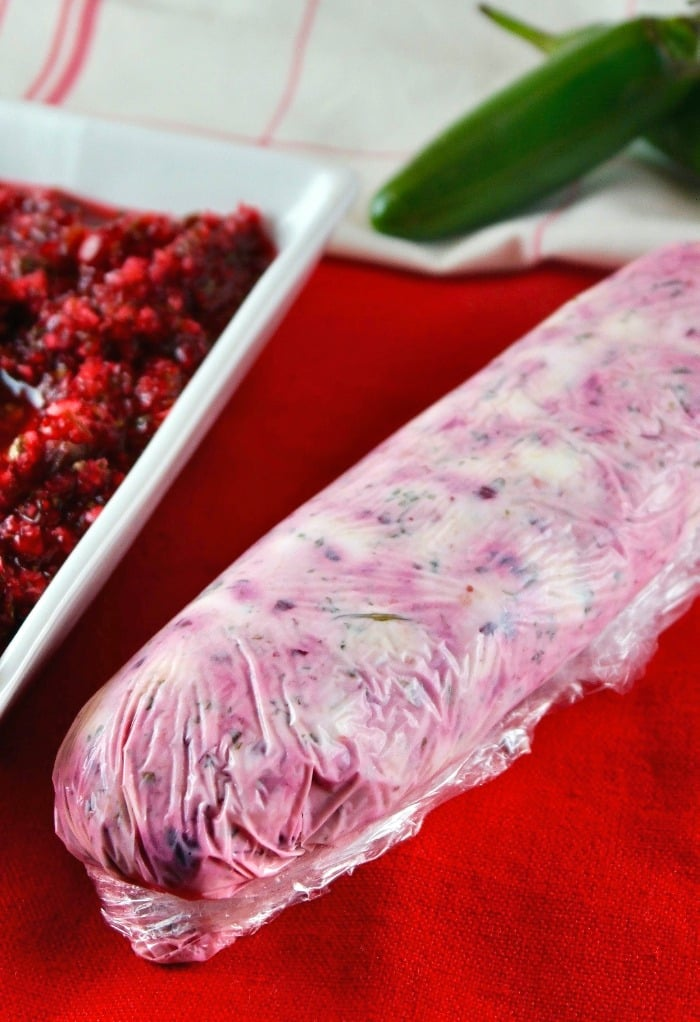 Cranberry jalapeno salsa rolled in cream cheese
