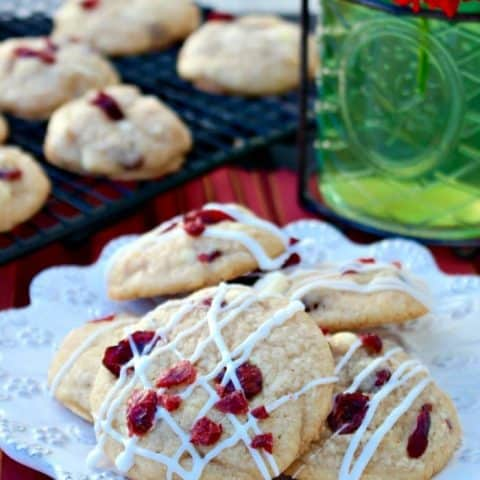 Macadamia Cranberry White Chocolate Cookies on a white plate