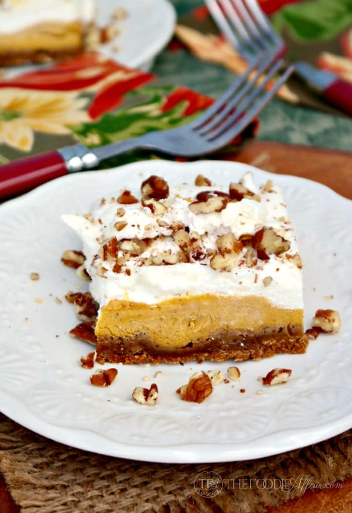slice of pumpkin delight on a white plate