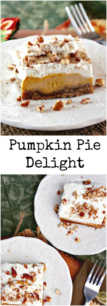 Light and airy pumpkin delight dessert made without pre-packaged jello. Three layers of delicious flavors - gingersnap crust, creamy pumpkin filling and fresh whipped cream! The Foodie Affair