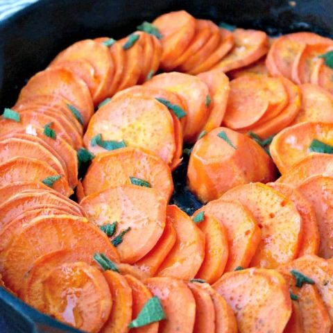 Roasted sweet potatoes in a cast iron skillet