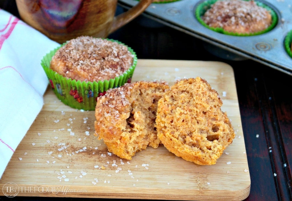 Light and airy Sweet Potato Muffins with a cinnamon crunch topping  #Muffin #SweetPotato | www.thefoodieaffair.com