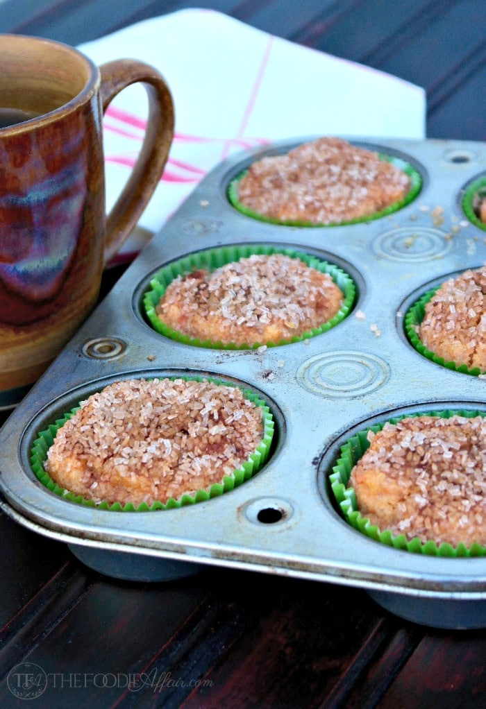 Light and airy Sweet Potato Muffins with a cinnamon crunch topping. Enjoy anytime of day with a warm beverage! The Foodie Affair