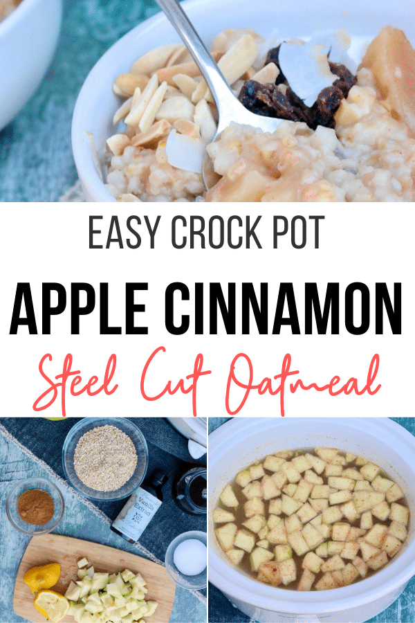 Healthy and nutritious homemade apple cinnamon steel cut oatmeal made in a slow cooker.