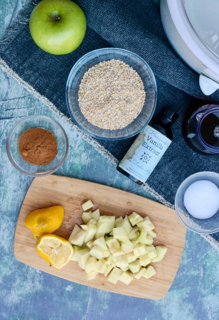 An over head view of the ingredients needed to make slow cooked apple cinnamon oatmeal.