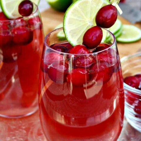Wine spritzer in a clear glass for a holiday party