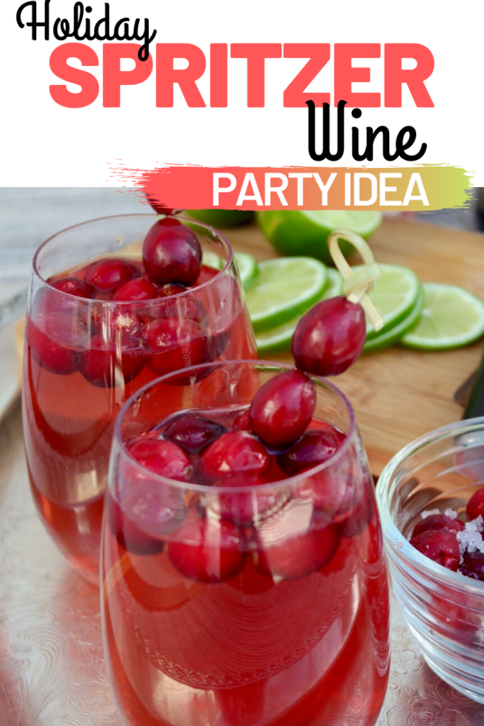 Holiday wine spritzer is easy to make for entertaining during the holiday season. Great party idea for a DIY cocktail recipe! #cocktail #holiday #wine #spritzer #partyidea