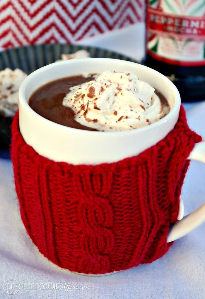 Peppermint Mocha Frozen Whipped Cream for adults! Add to your hot cocoa or coffee! The Foodie Affair